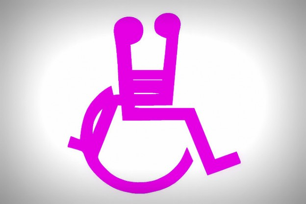 universal wheelchair sign with a seated able stick figure on their lap facing them in a romantic position