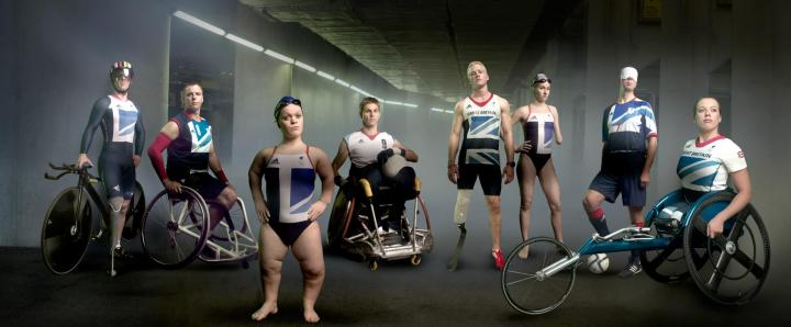 Famous photo of well known paralympians in their sports wear