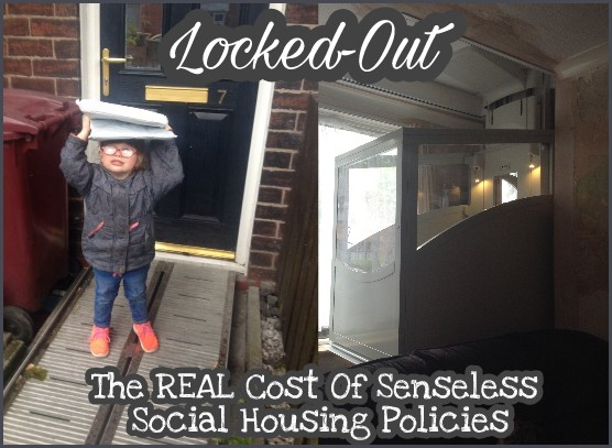 Abbie then 3 years old holding newspaper above her head to shield from the rain. She's stood at our front door ontop of a metal portable ramp