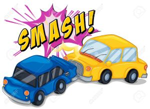 cartoon image of a yellow and blue car in a forward collision, above reads the word SMASH!