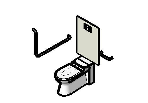 cartoon image of a toilet with grab rails surrounding