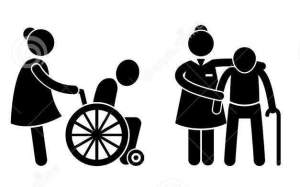 A carer pushing a manual wheelchair user and a carer aiding a man with a walking stick