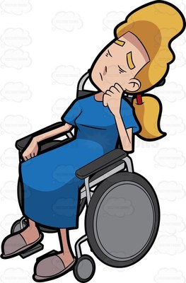 Blonde lady in manual wheelchair with head propped on her hand on her cheek, visably sleeping sat up