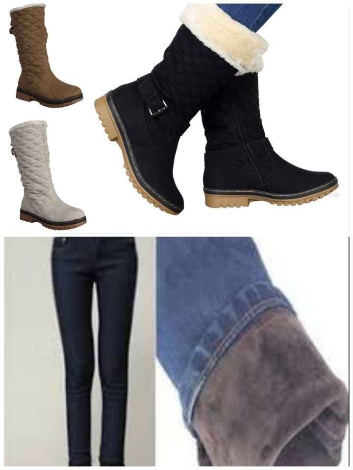 Collage displaying different style of ankle boots and how fleece lined jeans aren't visible from the outside, they just look like normal jeans