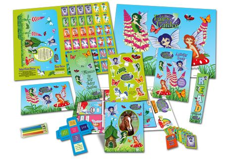 Bumper pack of children's activities laid out such as sticker, colouring and activity books