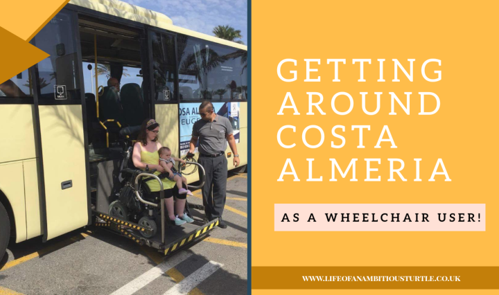 Blog title image of us on holiday trying out the wheelchair accessible bus with tailgate