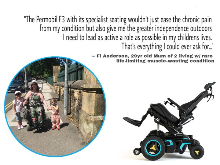 Picture of me and my girls, hand in hand on a warm summers day, next to it is a stock image of the custom powerchair I need