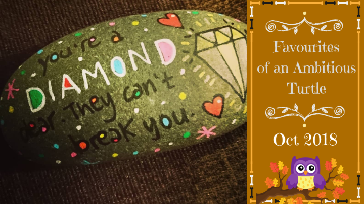 Blog post cover image is the title featuring a cartoon owl on an autumn leaf branch. To the left is a photo of the painted rock a fellow campaigner sent me in the post that I discuss further down in the blog