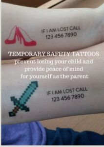 "Stock image of the temporary tattoos for children, examples of what they look like on the forearm. Reads; ""If I am lost call *insert your number to your order*"""