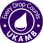 Every Drop Counts - UKAMB logo. A purple circle with a white droplet to represent breastmilk