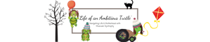 Header features the blog title in cursive writing in the centre surrounded by a simple border. Surrounding the border are characters that represent our family in turtle form. Abbie turtle is being lifted off the ground by a red balloon and features her statement red glasses and brunette pigtails, Ava is sat on the ground off centre in ash blonde pig tails, Mummy turtle aka Ambitious turtle/myself is the side profile of a turtle in a make shift wheelchair. Olly our black cat is walking on the top border. There is a bare winter tree to the left and we are all wearing colourful bobble hats and flying kites