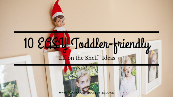 Elf on the Shelf sat ontop of wall mounted picture frames with post title overlay