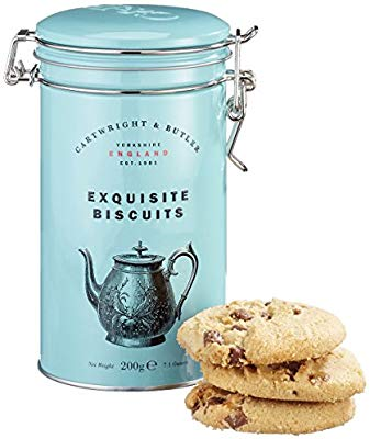 Rustic tall, duck egg blue tin with mason jar type closure. Inside contains 12 chocolate chip cookies
