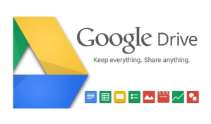 """Google Drive logo with slogan """"Keep everything. Share anything."""""""