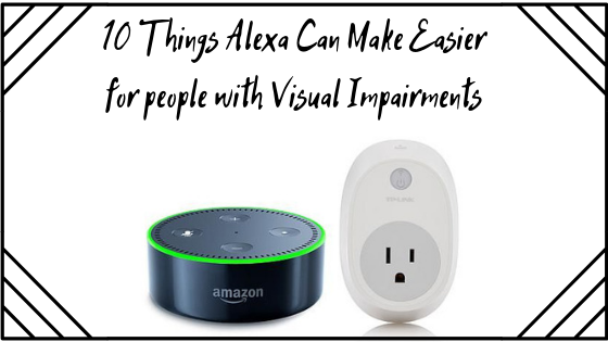 Blog post title with stock image of an Amazon Echo Dot (Black and shaped like a hockey puck) and its compatible plug