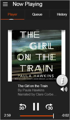 Example of the Audible App display saying its half way through reading out