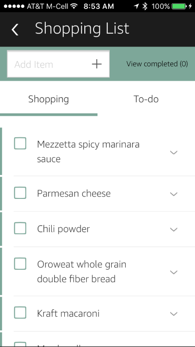 Shopping list as it appears in the Alexa App with example items such as bread and milk