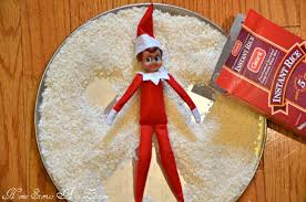 Elf on a plate of rice making angel shapes