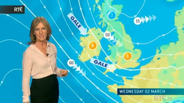 Joanne Donnelly presenting the British forecast on TV showing gale force winds