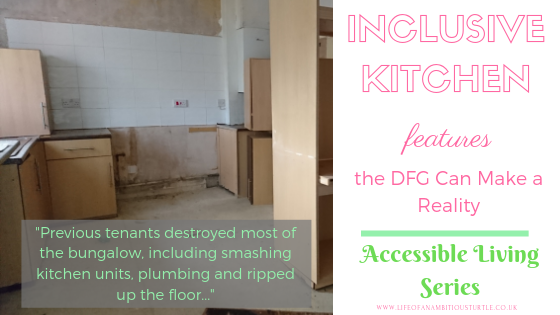 Photo of the state of the kitchen prior to reconstruction. Kitchen units, cupboards, doors are hanging off or non-existant, floor is 3/4 removed and plumbing is destroyed. Quote reads;