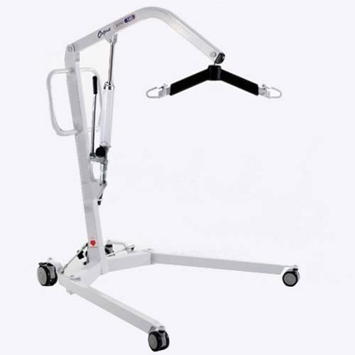 Stock photo of mobile hoist, it resembles a small crane that attaches to a sling that hoists the patient up by a handheld remote. The hoist is on wheels so when patient is in the air suspended you can wheel them over the bed or another chair