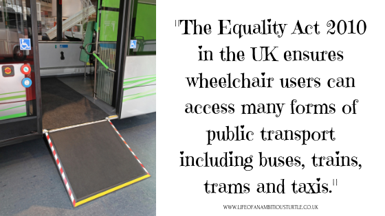 Photo of an extended ramp on a public bus with the quote;