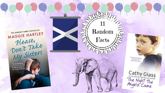 Collage of things mentioned in the random facts - Scottish flag, 2 favourite books and an elephant