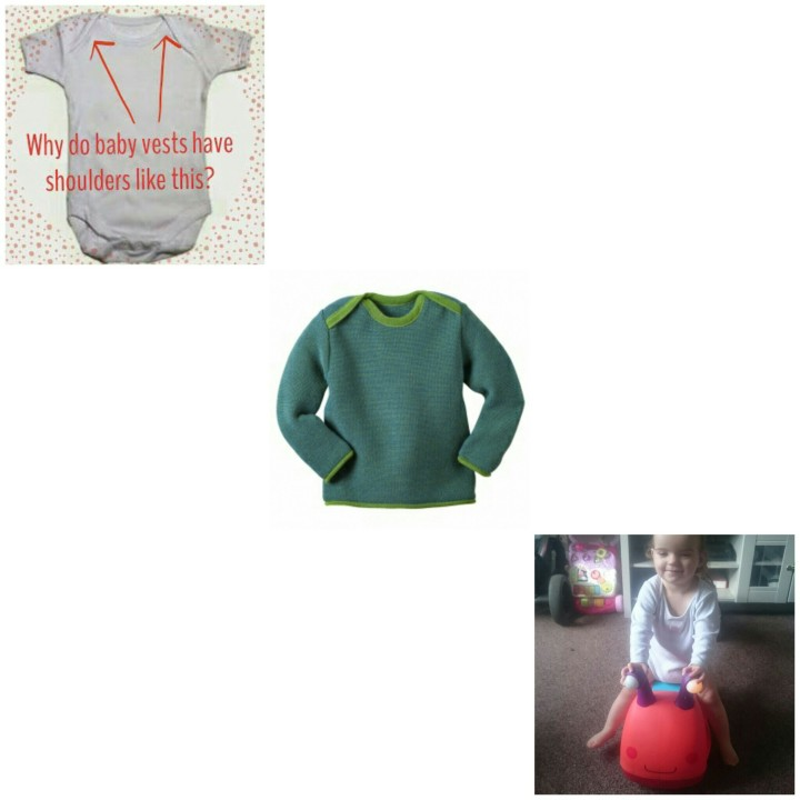 3 examples of baby clothes with envelope shoulders that you can pull down babies body to remove
