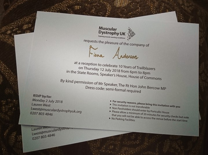 Photo of official invites to attend Parliament addressed to myself and my partner from MDUK charity for the 10 year celebration