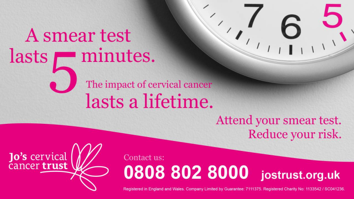 Jo's Cervical Cancer Trust poster with the quote;