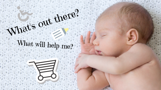 "A sleeping unclothed baby is snoozing on their side on a grey blanket. Next to them are the questions ""What's out there? What will help me?"""