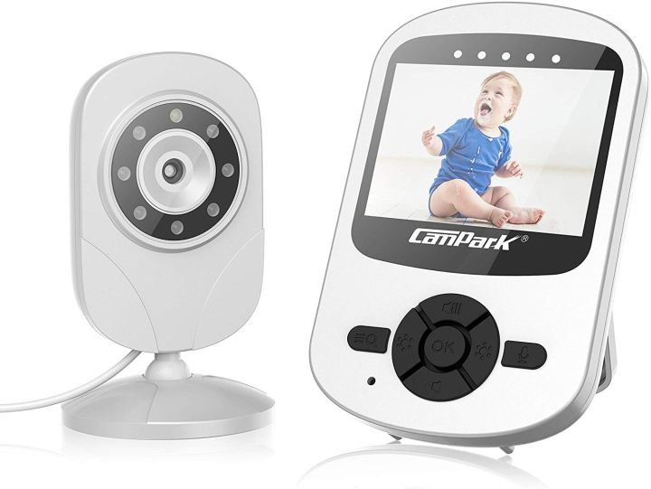 2 pieces of a video baby monitor. The camera piece, resembling a webcam you put on a shelf in babies room and the screen with several control buttons.