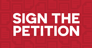 White 'Sign the Petition' text over red background graphic
