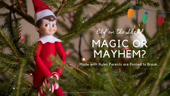 "The girl plush red 'Elf on the Shelf' character with rosy cheeks and a cheeky grin, holding a candy cane nestled in the family Christmas tree. Writing beside reads; ""Elf on the Shelf - Magic or Mayhem? Made with Rules Parents are Forced to Break."""