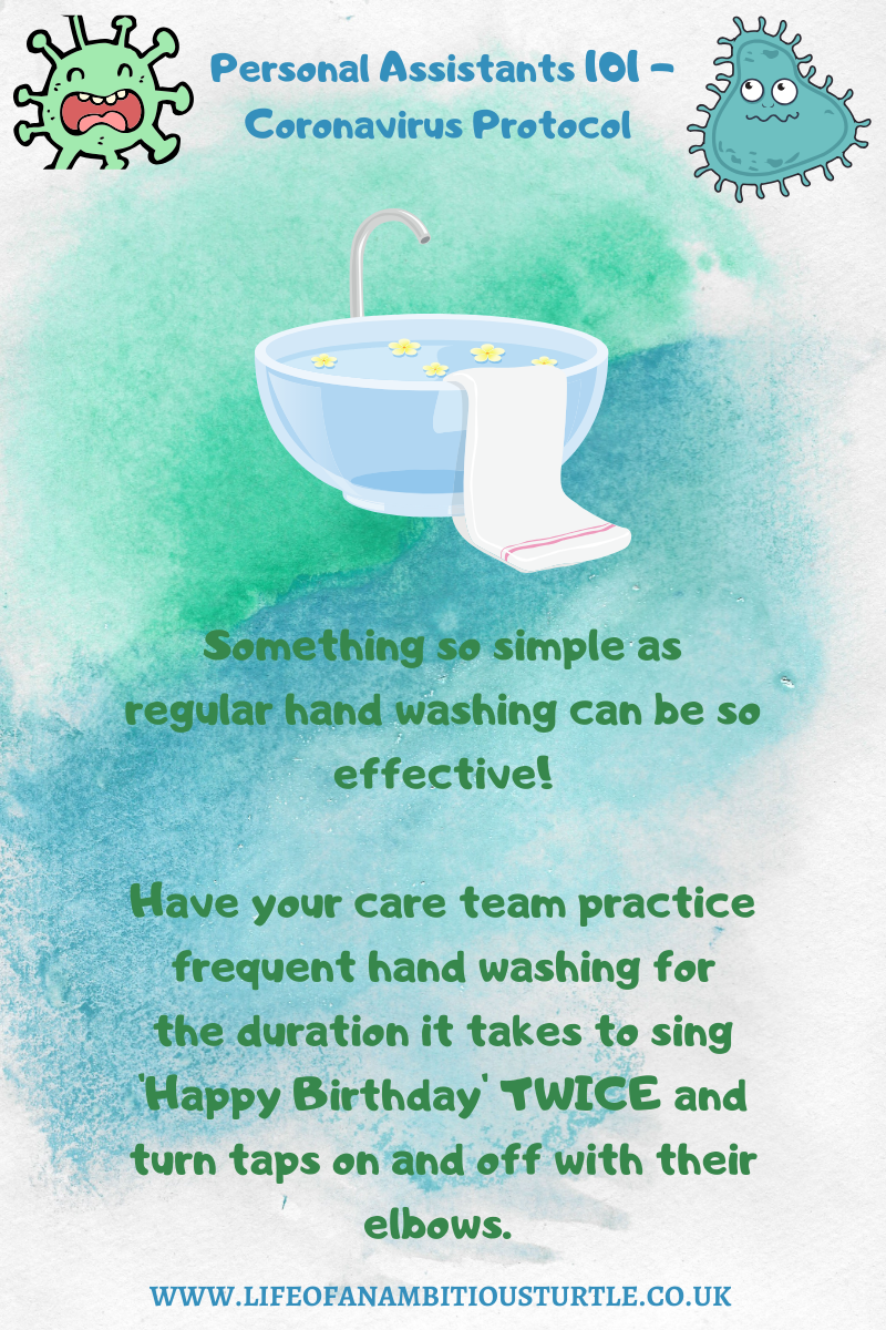 "Info graphic with wash basin and towel educates; ""Something so simple as regular hand washing can be so effective! Have your care team practice frequent hand washing for the duration it takes to sing 'Happy Birthday' TWICE and turn taps on and off with their elbows"""
