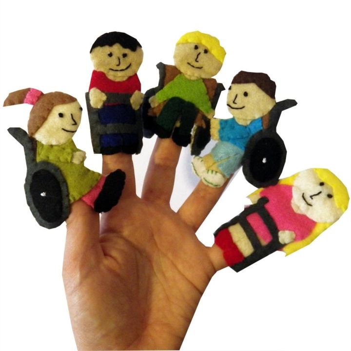 Finger puppets on 5 digits of varying ethnicities, hair and skin colour with felt wheelchairs and walking frames.