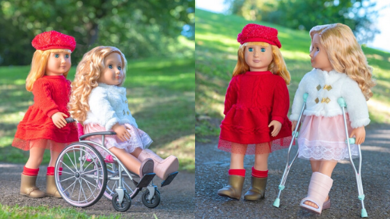 Doll in red dress pushing her doll friend in a pink manual wheelchair on the left, the same dolls on the right except the doll in the fur coat is on crutches with a cast on her leg as she's strolling in the park with her friend